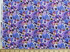 Purple Lovely Packed Pansies Elizabeth's Studio 100% cotton fabric by the yard