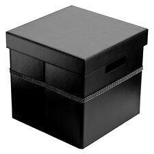 Storage Box With Lid Black Leather Effect With Diamante Detail Home Decor New