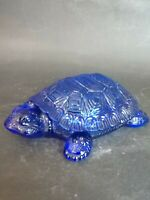 Vintage Cobalt Blue Turtle Shaped Covered Candy Dish