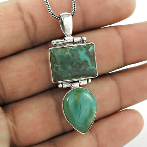 925 Sterling Fine Silver Jewelry Pear Shape Turquoise Gemstone Pendant QQ27