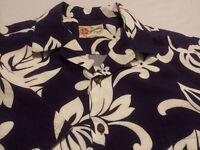 Hilo Hattie Mens Large Short Sleeve Button-Front Blue Floral Hawaiian Shirt