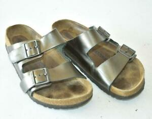 BIRKENSTOCK ARIZONA Silver Leather Sandals Sz 36 EUR 5 US Womens SOFT FOOTBED