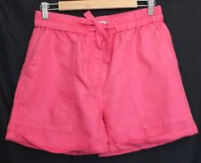 COUNTRY ROAD ~ Watermelon Pink Linen Cotton Cuffed Elastic Waistband Shorts 8