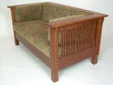 Mission Arts and Crafts Stickley Style Prairie Spindle Settle Loveseat