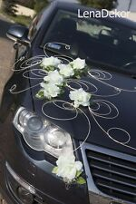 wedding car decoration, ribbon , bows, prom limousine decoration, white Twist