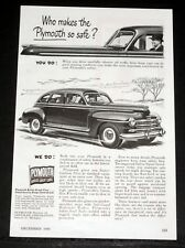 1948 OLD MAGAZINE PRINT AD, PLYMOUTH CARS, WHO MAKES THE PLYMOUTH SO SAFE? YOU!