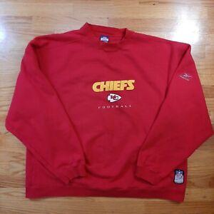 Vtg Kansas City Chiefs Reebok On Field Red Crew Neck Sweatshirt Men's Size 2XL