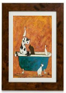Big Dog in Bath by Sam Toft Framed Print