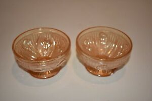 Iris Herringbone Pattern Jeannette Iridescent Gold Carnival Glass Sherbet Bowl