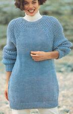 """Aran Lana Fantasia De Cuello Redondo sweater/tunic 32 """" - 42 Pulgadas ~ Tejer patrón"""