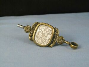 ANTIQUE BRASS POCKET WATCH KEY FOB MOTHER OF PEARL LOCKET SEAL 1700s FOLK ART