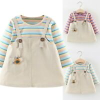 Toddler Baby Kid Girl Rainbow Strip Patchwork Dress Party Wedding Dress Clothes
