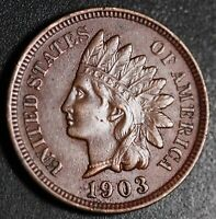 1903 INDIAN HEAD CENT -With LIBERTY & Near 4 DIAMONDS - AU UNC