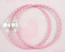 10pcs Pink Charm Leather Bracelets Fit European Bead 20cm P11-6
