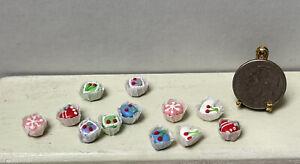 Vintage Artisan Individual Cakes Paper Wrapped 12PCS Dollhouse Miniature 1:12