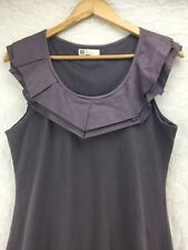 Mais II Est Ou Le Soleil Cotton Dress Gray Brown Bib Collar Women's Size L