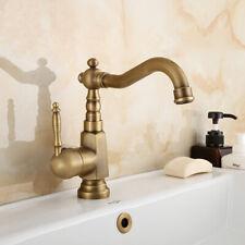 Antique Brass Single Handle Bathroom Faucet Vessel Sink Basin Swivel Mixer Tap