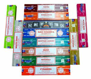 Satya Genuine Nag Champa Incense Mix Scents Full Box 12 X 15G WHOLESALE LOT UK