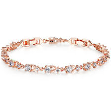 Luxury Rose Gold Color Chain Link Bracelet AAA Cubic Zirconia Gift Pouch Include