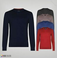 Mens Howick Long Sleeves Ribbed Fine Knit V Neck Jumper Sizes from S to XXL