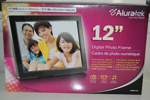 "Aluratek 12"" Digital Photo Frame with 512MB Built-In Memory ADMPF412F Brand New"