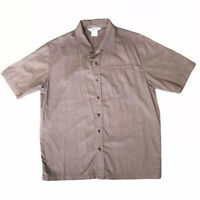 Marmot Shirt Mens Size M Button Down Short Sleeve Pocket Brown Organic Cotton