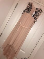 New Warehouse Sequin Embellished Midi Dress UK 10 Pale Pink Nude w waist tie