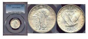 1924 25C PCGS MS 64-Nice Toning Full Strike Standing Liberty Quarter ++