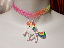 RAINBOW UNICORN TATTOO CHOKER enamel henna stretch band pendant necklace 90's N3