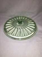 "Vintage Green Depression Glass Round Lid 9 1/2"" Light Green"