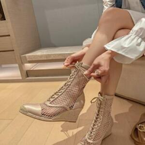 Womens New Fashion Mesh Satin Espadrille Wedge Lace Up Mid Calf Boots Shoes SUNS