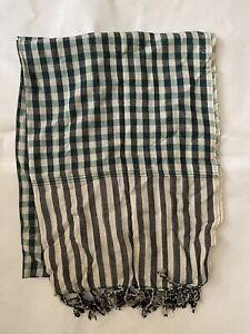 Handmade Cambodian Krama plaid scarf - green and black