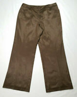 Talbots Women Petite Size 14 Straight Pants Brown Silk Blend Stretch Mid Rise