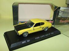 FORD CAPRI 3000 GT 1969 Jaune et capot noir DETAILCARS ART 301 jantes modifiées