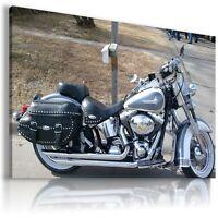 HARLEY DAVIDSON  MOTOR BIKE SILVER Large Wall Canvas Picture ART  HD27  MATAGA