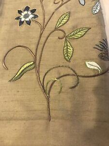 "Pottery Barn Silk Multi Embroidered Drape Curtain Panel 50""x96"" Clay New"
