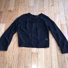 Ali & Kris Black Sheer Top Blouse Open Back Large Bishop Sleeve Top LS Shirt