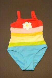 Gymboree Girls Swimsuit Cheerful Stripes with Daisy Sz 5 EUC