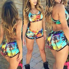 Women Crop Tops High Waist Shorts Floral Bikini Set Beach Hlimwear Hlimsu0v Green L