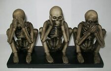 Halloween Skeleton Figurine Statue Decoration See Hear Speak No Evil Free Ship!