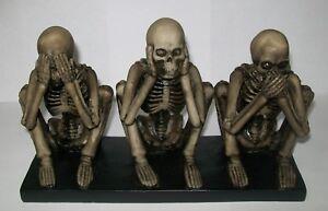 Halloween Skeleton Figurine Statue Decoration See Hear Speak No Evil Free Ship!
