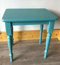 Beautiful Up-Cycled Side Table in Blue Waxed Finish