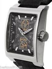 NEW GUESS MEN BLACK LEATHER WATCH,LAYER SKELETON DIAL WATCH-U90023G1