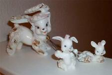 Vintage Gilded Fine Porcelain Spaghetti Bunnies!  Mother and Babies Japan