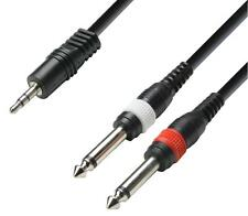 3.5mm Headphone Jack to 2 x 6.35mm Jack Lead iPod or Laptop to PA 1 Metre Long