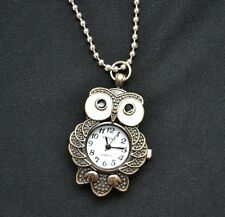Owl Pocket Watch Necklace Steampunk Antiqued Bronze Vintage Style