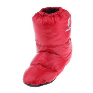 Duck Down Slippers Winter Warm Foot Booties Camping Tent Home Footwear Red L