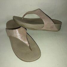 Fit Flop Lulu Shimmer Suede Women's 39 US 8 Soft Pink Slip On Flip Flop Sandals