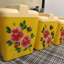 Vintage Floral Canisters -Painted