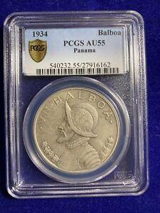 1934 PANAMA BALBOA SILVER UN VN $1 DOLLAR PCGS AU55 COIN!
